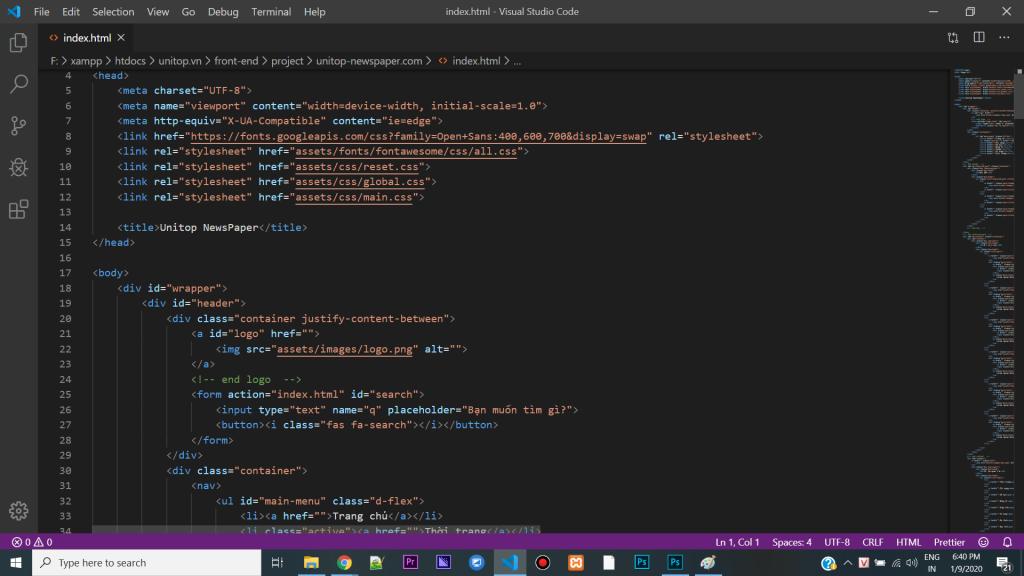 Lên cấu trúc html website